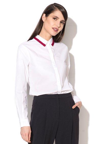 FashionDays.ro: Camasa alba cu detaliu rosu pe guler Cairo MaxCo
