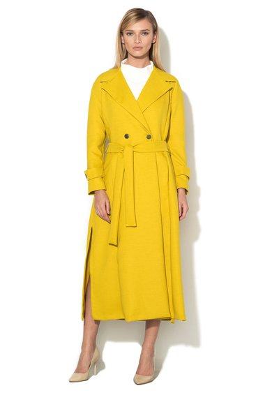Palton lung galben citrine cu doua randuri de nasturi de la Closet LONDON