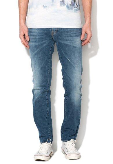 GUESS JEANS Jeansi conici albastri cu aspect decolorat Sonny