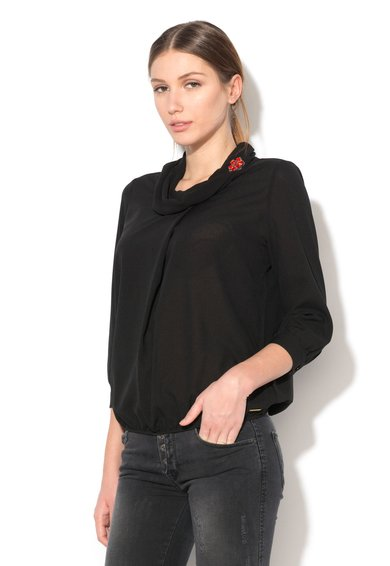 Fornarina Bluza neagra cu guler drapat Mami