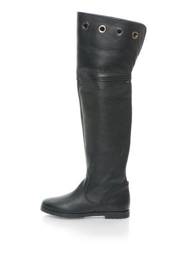 FashionDays.ro: Cizme inalte negre de piele cu anouri metalice Liu Jo