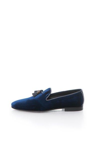 Pantofi loafer albastri catifelati de la Zee Lane