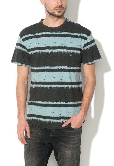 JackJones Tricou negru stins cu albastru aqua in dungi Handle