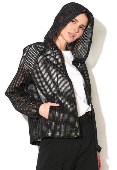 FashionDays.ro: Jacheta neagra cu gluga si textura tip plasa Funale Sportmax Code