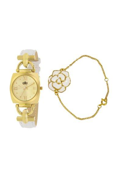 Elite Set alb cu auriu de ceas si bratara