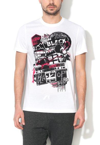 Reebok Tricou alb cu imprimeu frontal BLK