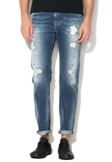 Diesel Jeansi slim fit conici albastri cu rupturi decorative Buster