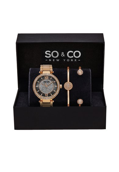 SOCO New York Set auriu rose de ceas si bratari Madison -3 piese
