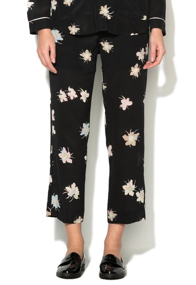 FashionDays.ro: Pantaloni crop negri cu imprimeu floral Foglia Marella