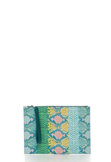 Just Cavalli Geanta plic supradimensionata multicolora cu model sarpe