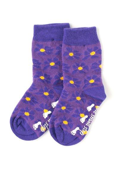 Set de sosete violet cu mov si imprimeu floral – 2 perechi de la MALA
