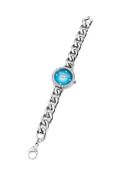 Ceas argintiu cu cadran albastru J Chain de la Just Cavalli