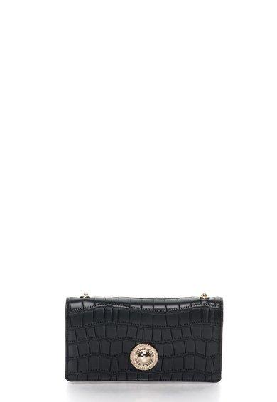 FashionDays.ro: Portofel tip geanta plic negru cu model reptila VERSACE JEANS