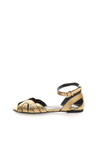Sandale aurii de piele cu model sarpe