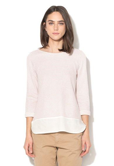 FashionDays.ro: Bluza alb cu roz in dungi si aspect 2-in-1 ESPRIT