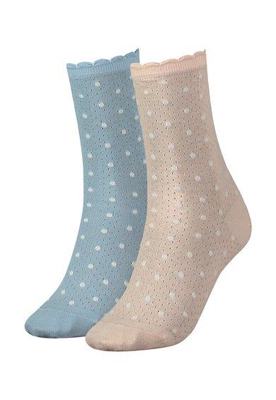FashionDays.ro: Set de sosete bleu si roz cu buline – 2 perechi Tommy Hilfiger