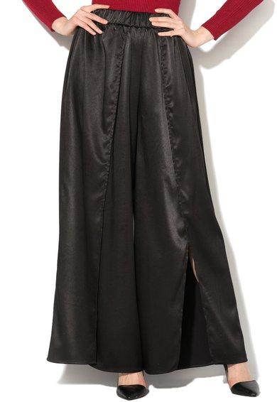 Glamorous Fusta-pantalon neagra de satin cu slit adanc