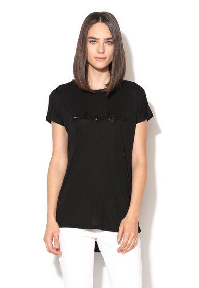 FashionDays.ro: Tricou negru cu decupaj pe partea din spate Cozzile Silvian Heach Collection