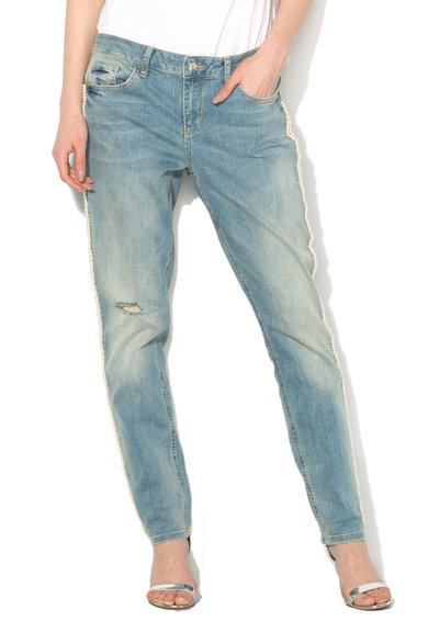 Jeansi albastru stins cu perle sintetice de la Liu Jo