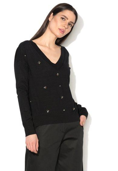 FashionDays.ro: Pulover negru cu decolteu in V si strasuri Liu Jo