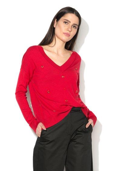 FashionDays.ro: Pulover rosu cu decolteu in V si strasuri Liu Jo