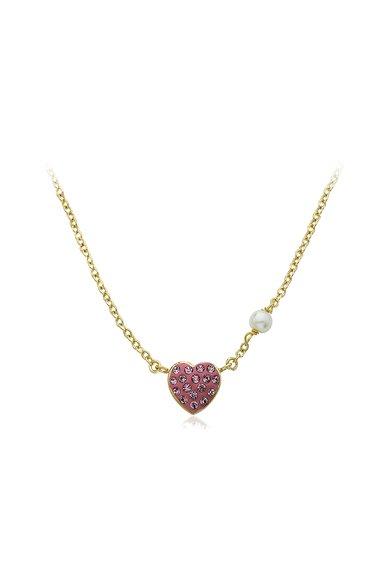 Colier placat cu aur si cu pandantiv Heart of Jewels de la Molly Glitz