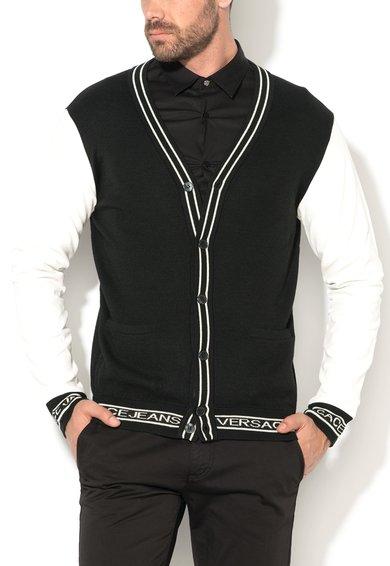 FashionDays.ro: Cardigan negru si alb cu maneci de piele sintetica VERSACE JEANS