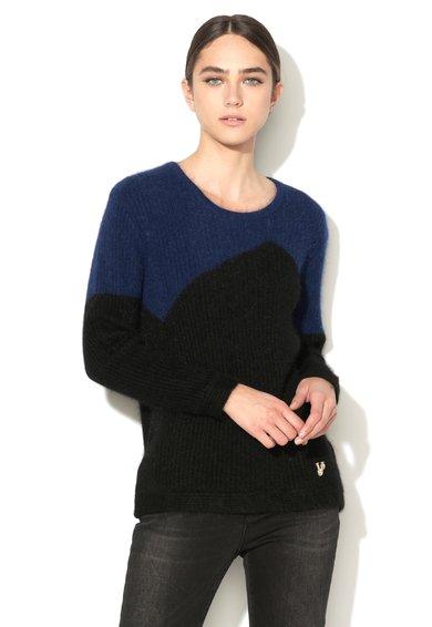 FashionDays.ro: Pulover striat albastru royal si negru din amestec de lana VERSACE JEANS