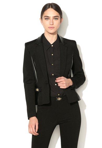 FashionDays.ro: Sacou negru cu garnituri de piele sintetica VERSACE JEANS