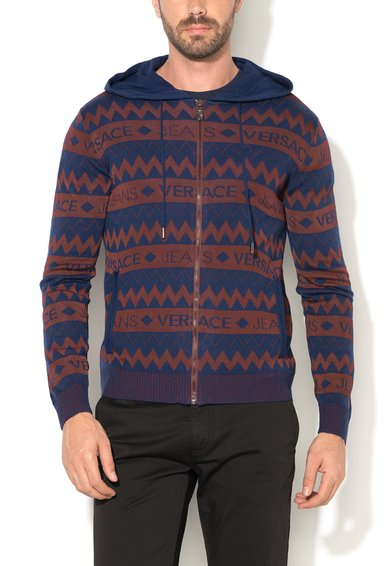 VERSACE JEANS Haanorac bleumarin cu Bordeaux tricotat si cu model logo