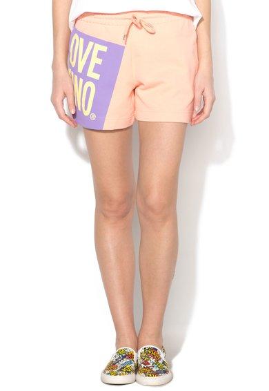Pantaloni scurti corai deschis cu talie elastica de la Love Moschino