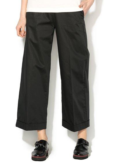 Pantaloni culotte negri cu buzunare
