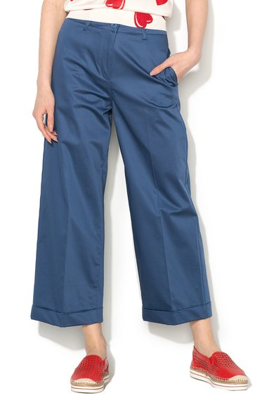 Pantaloni culotte albastru mineral cu buzunare de la Love Moschino