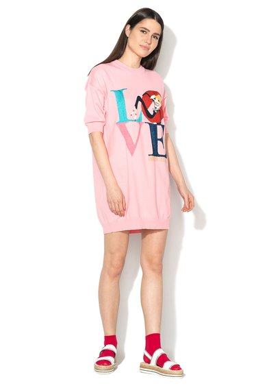 FashionDays.ro: Pulover lung roz deschis cu imprimeu multicolor Love Moschino