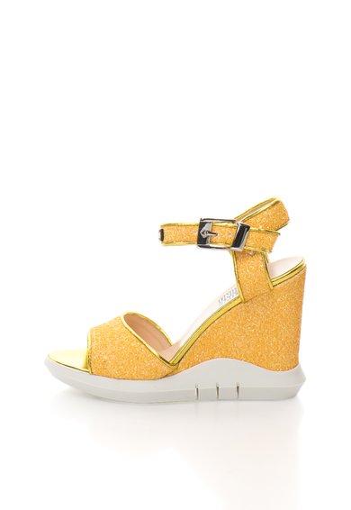 FashionDays.ro: Sandale wedge galbene cu particule stralucitoare Love Moschino