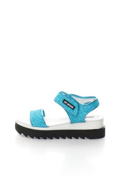 FashionDays.ro: Sandale wedge albastre cu particule stralucitoare Love Moschino