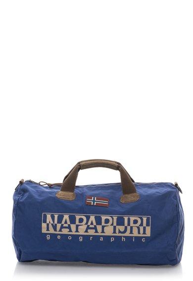 Geanta de voiaj albastra cu detalii de piele intoarsa Bering de la Napapijri