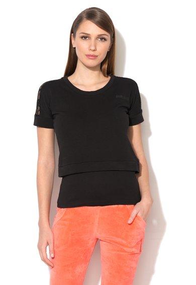 FashionDays.ro: Tricou de casa negru cu aspect 2in1 si insertii de dantela Just Cavalli
