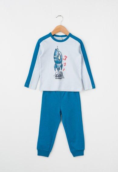 Pijama albastru azur cu albastru paun cu racheta de la Undercolors of Benetton