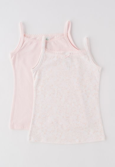 Set de topuri roz cu alb - 2 piese
