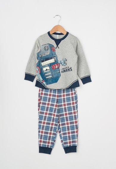 Pijama albastru cu gri melange si imprimeuri diverse de la Undercolors of Benetton
