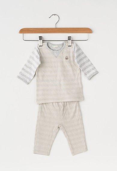 Set de bluza si pantaloni alb prafuit cu bej in dungi de la United Colors Of Benetton