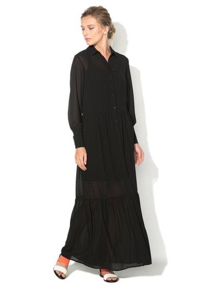 Sisley Rochie maxi neagra tip camasa din crep