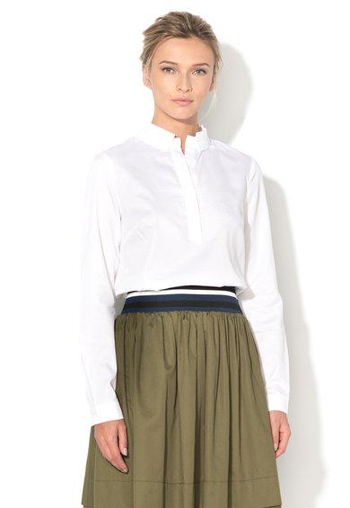 Sisley Bluza tip tunica alba cu guler striat
