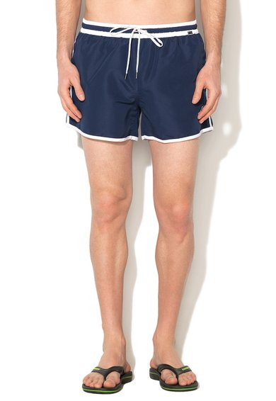 Pantaloni scurti de baie bleumarin cu alb Short Mix de la Skiny