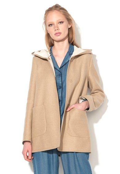 Haina scurta bej din amestec de lana Agile de la Pennyblack