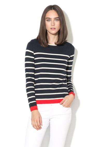FashionDays.ro: Pulover bleumarin inchis si alb cu detaliu rosu Only