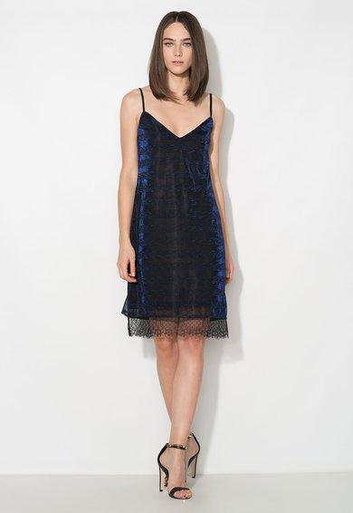 Rochie tip furou neagra cu insertii din fire albastre de la Zee Lane Collection