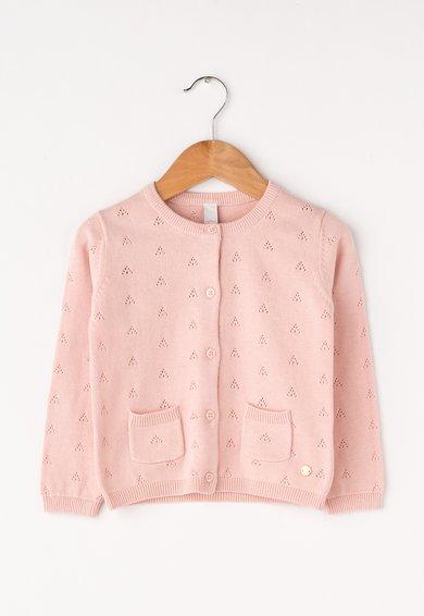 Cardigan roz pal cu model pointelle de la ESPRIT