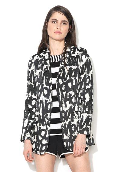 Sacou negru si alb cu imprimeu de la Sisley
